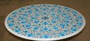36 Inches Marble Sofa Center Table Top Inlay Dining Table With Turquoise Stone