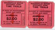 2 Attached Indy 500 1965 Indianapolis Speedway Time Trials Tickets 034149/50
