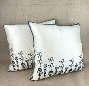 2 Embroidered Silk Designer Decorative Pillows With Feather Inserts 20x20