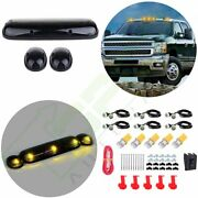 3pcs Smoke Cab Marker Light Lens + T10 Amber Led Grille Lamp For Chevy Gmc