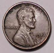 1923 S Lincoln Wheat Cen T Penny - Better Grade-nice Wheats - Free Shipping