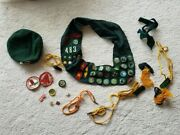 Girl Scout Sash With Patche Badge Pin Hat Whistle Vintage