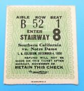 Notre Dame At Usc - College Football Ticket - 1926 - 1st Game In Rivalry - Rare