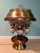 Large Vintage 5 Light Brass And Glass French Bouillotte Hurrican Lamp - Ooak