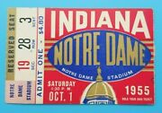 Indiana At Notre Dame - College Football Ticket - 1955