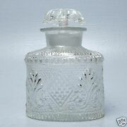 Early American Or Continental Mold Blown Glass Tea Caddy Bottle W Stopper - Gl