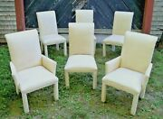 Set Of Six Mid Century Parsons Style Genuine Leather Covered Dining Chairs