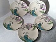Set Of 5 Edie Rose Home Peacock Collection Porcelain Salad Plates