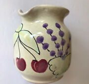 Mesa International Pottery Handcrafted In Hungary 3 1/2andrdquo Pitcher Cherries +