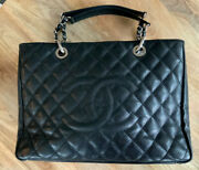 Grand Shopping Tote Quilted Caviar- Black Handbag Authentic Used