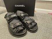 Authentic Brand New Dad Sandals Lambskin Quilted Black Leather Size 38