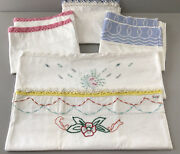 Vintage Pillowcases Lot Of 7 White Embroidery Crochet Eyelet Queen Sz