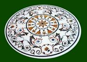 Ancient Art From India Hallway Table Top Marble Dining Table For Home 48 Inches