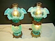 Fenton Blue Hobnail Opalescent Lamp W/lighting In The Shade And Inthe Font 1-2