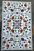 30 X 48 Inches Marble Dining Table Top Stone Inlay Floral Pattern Kitchen Table