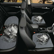 Cool Wolf Car Seat Cushion Cover Ful Set Nonslip Front Rear Seat Cover Potector