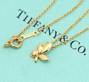And Co. Olive Leaf Diamond Pendant Necklace 16 18k Yellow Gold W/bag U105