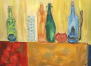 Vintage Expressionist Oil Painting Still Life With Bottles And Gas Almp Signed