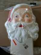 Nos Vintage Union 75260 Blow Mold Santa Claus Face Light Up Lighted Head