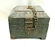 Antique Vintage 1800's No Joints Single Wood Wooden Trinket Box With Carvings