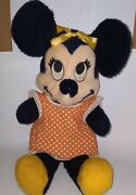 Vintage Antique Mickey Minnie Mouse Plush Toy 1960s Large 25 Inch