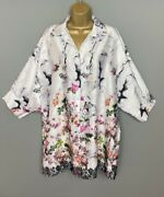 Made In Italy Satin Blouse Shirt Top White Floral Uk Plus Size 16 18 20 Womens