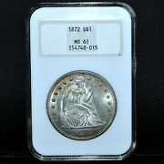 1872-p Seated Liberty Dollar ✪ Ngc Ms-61 ✪ 1 Silver Old Holder Unc Bu ◢trusted◣