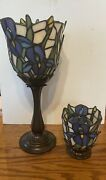 Partylite Iris Lamp Candle Stained Glass For Votive Tea And Matching Votive Holder