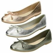 Ladies Leather Collection Slip On Rounded Toe Ballet Shoes