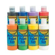 Acrylic Paint Set 8 Safe And Non Toxic Bottles Of Bright Colors Craft And A...