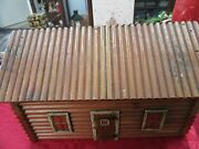 Antique 1920and039s Mcgraw Box Co Wooden Log Cabin Interior Look Hinged Top Box Nice