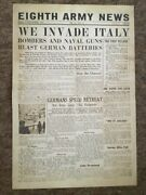 1943 Sept 3rd Fri , Wwii Eight Army News Newspaper Front Page Headlines Poster