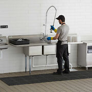91 3-compartment Stainless Steel Commercial Pot And Pan Sink With 2 Drainboards