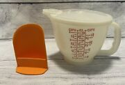 Tupperware Mix N Stor 4 Cup Measuring Pitcher 1288 Lid 1289 Red/blue Letters