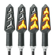4pcs Motorcycle Led Turn Signal Light Sequential Flowing Indicator Lamp Amber