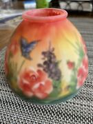 """Reverse Hand Painted Glass Candle Or Lamp Shade A Little Over 4.5"""" Birds Flowers"""
