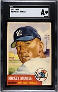 1953 Topps 82 Mickey Mantle New York Yankees Sgc Authentic