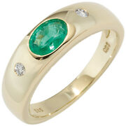 Womenand039s Ring 585 Yellow Gold 1 Emerald Green 2 Diamonds Gold Ring