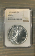 1989 1 Ngc Ms 69 Star American Silver Eagle, Semi-proof Like 1 Oz. Ounce Coin