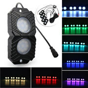 4 Pods Rgb Led Rock Lights Wireless  Multi-color Fit Suv Off-road Atv