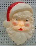 Vtg Christmas Light Blow Mold Santa Face Head 22andrdquo Union Products- Made Un Usa