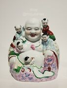 10.5 Vintage Chinese Porcelain Laughing Buddha With Children Statue Heavy