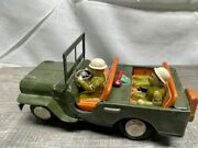 Antique Tin Toy Army Jeep W/ Great Litho Graphics In Good Condition