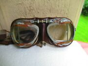 Vintage Stadium Motorcycle/aviation Goggles Cafe Racer Racing Leather Motoring