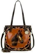 Patricia Nash Lundy Equestrian Bust Leather Convertible Crossbody Tote-nwt