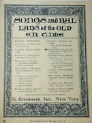 1898 Songs And Ballads Of The Old En Time G Schirmer Vintage Sheet Music V430