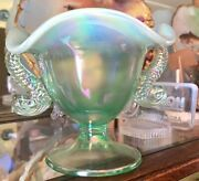 Fenton Green Iridescent Dolphin Handle Bowl 95th Anniversary Excellent Gorgeous