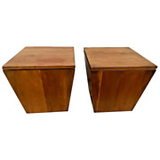 Authentic Stickley Metropolitan Box End Table Set With Storage Solid Cherry Rare
