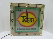 Vintage And Rare 1960and039s Teem Lemon-lime Drink Lighted Clock