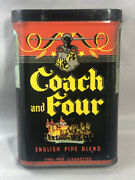 Antique Coach And Four Horses Tobacco Pocket Tin Advertising Vg+ Condition Pipe